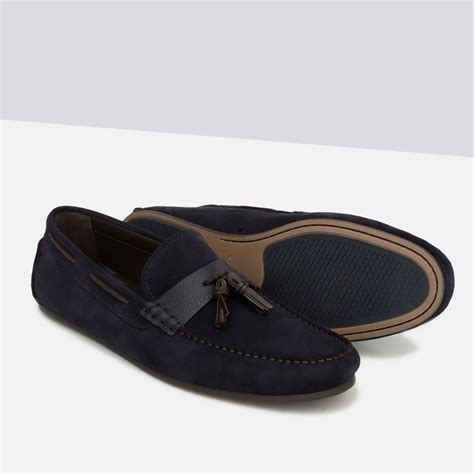 zara loafers zara leather tassel loafers in blue for lyst