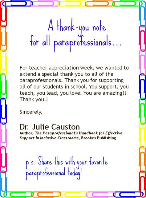 thank you letter after paraprofessional 17 best images about paraprofessional stuff on