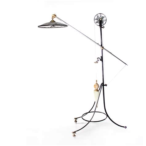 Pulley Floor L Cfl Warren Pulley Metal Task Floor L Rustic Iron Finish By Lights And Ls