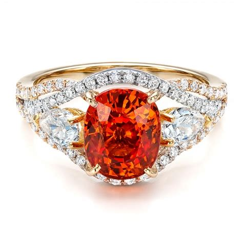 custom orange sapphire engagement ring 100117