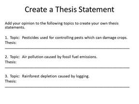 the thesis statement notes ppt