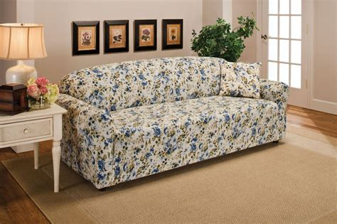 floral loveseat slipcovers blue floral flower jersey sofa stretch slipcover couch
