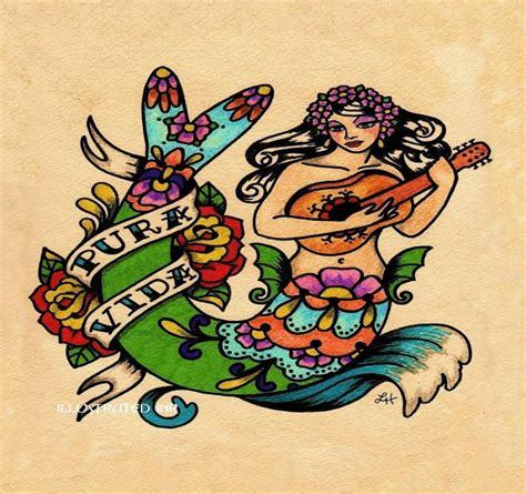 old school mermaid tattoo designs school folk patterned mermaid guitar