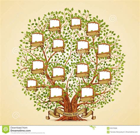 Family Tree Template Vintage Vector Stock Vector Illustration Of Genealogy Icon 95570586 Stock Vector Family Tree Template With Portraits Of Relatives And Place For Text On Green