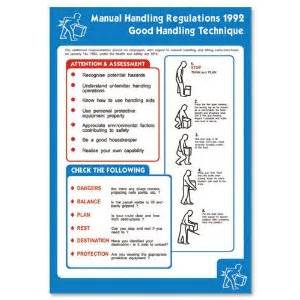 manual handling regulations 1992 health and safety poster