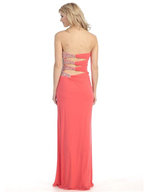 strapless gown with cutout sides by embellished strapless gown with side cutout sung