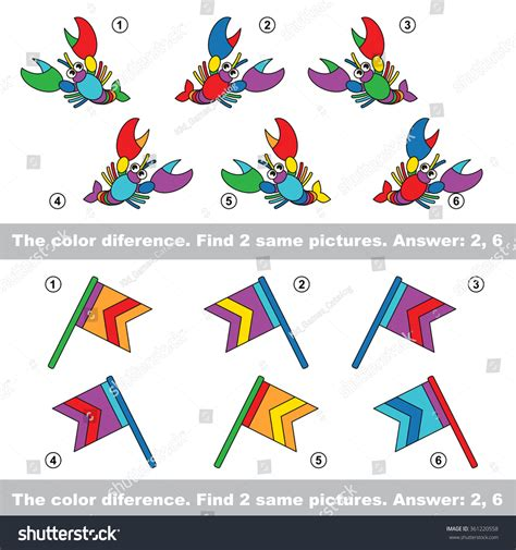 find related colors color difference visual vector game task stock vector