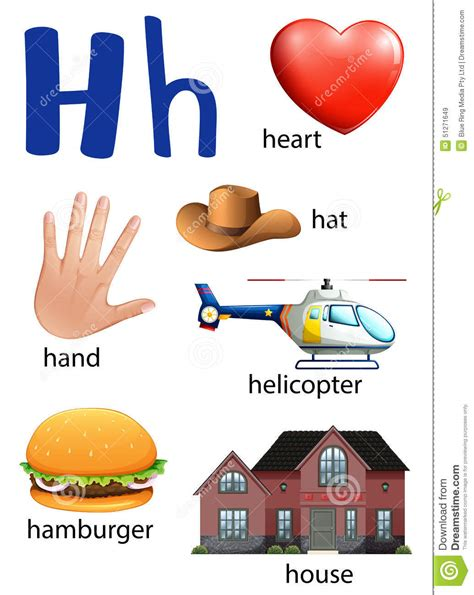 That Start With The Letter H by Things That Start With The Letter H Stock Vector Image
