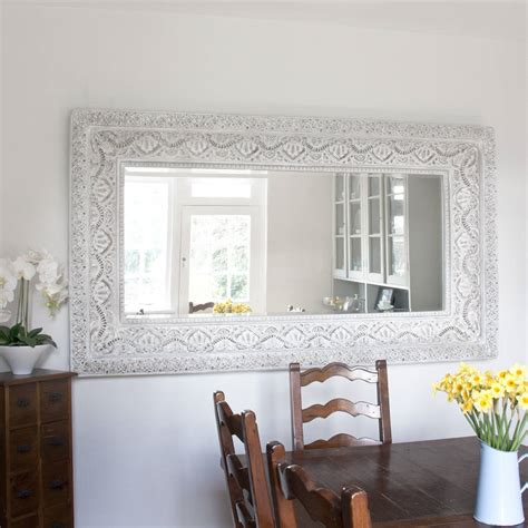 large shabby chic mirror two metre large shabby chic whitewashed mirror by