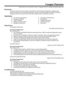 inventory supervisor resume example production sample
