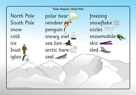 Winter Word Mat by Polar Region Word Mat Winter