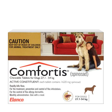 comfortis for puppies comfortis for dogs 27 1 54kg brown 6 tablets chempro chemist