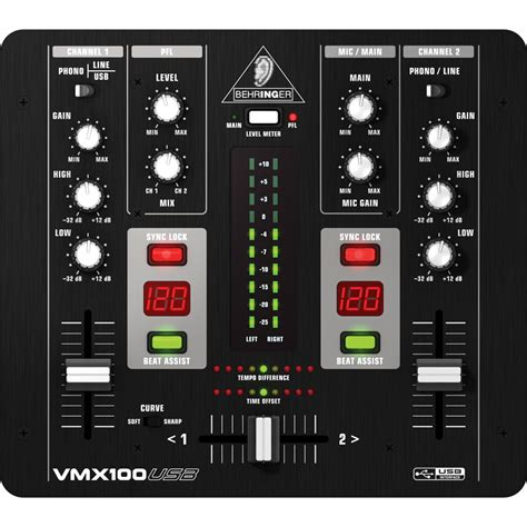 Mixer Audio 2 Channel behringer vmx100usb 2 channel dj mixer with usb audio interface dv247