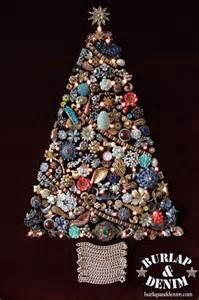 vintage costume jewelry christmas treeburlap denim