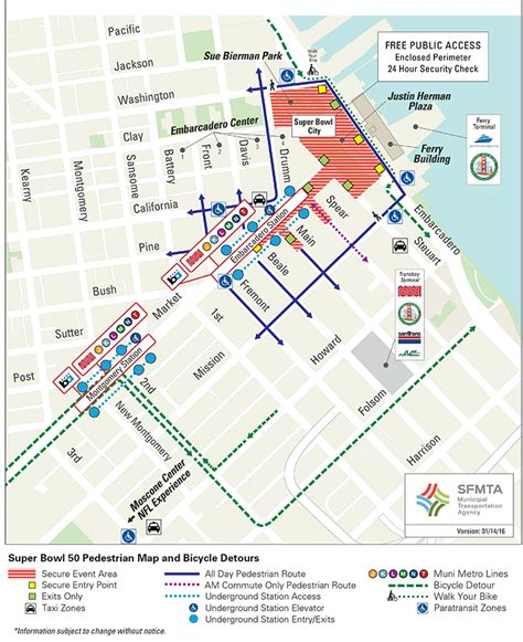 san francisco map embarcadero how to get around the bay area during bowl 50 news