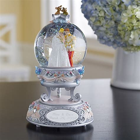 disney snowglobe personalized wedding cinderella globe nib