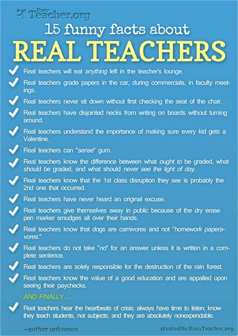 good biography facts 15 funny facts about real teachers poster