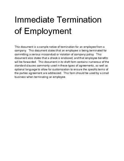 Letter Of Termination Of Employment Contract Sle Welcome To Docs 4 Sale