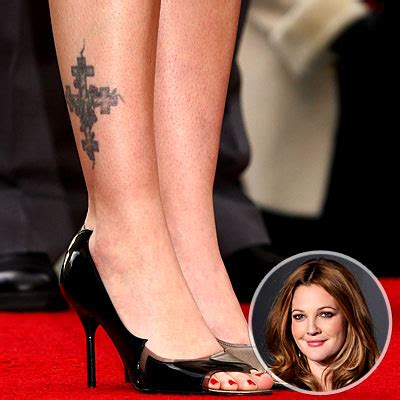 drew barrymore ankle tattoo tattoos
