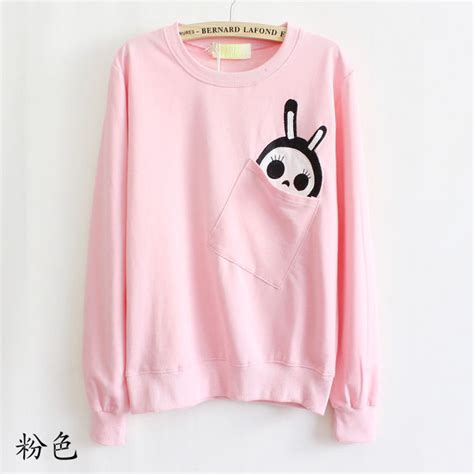 Rabyt Pink Sweater by Shirt Animal Skeleton Pockets Bunny Pink Sweater