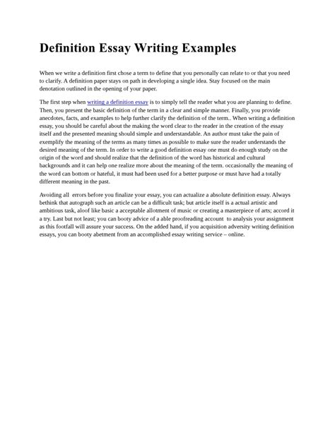 Essay Types Definition by Definition Essay Writing Exles