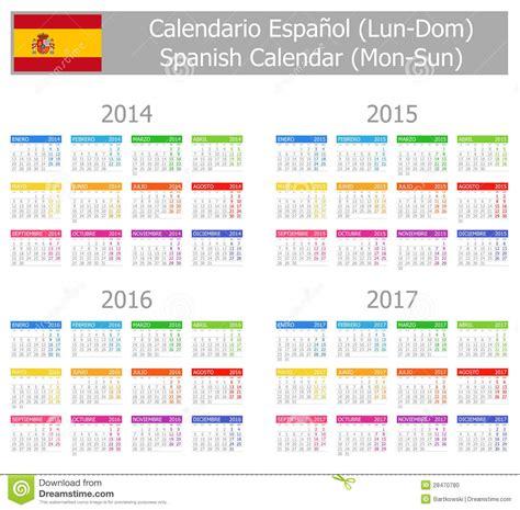 Calendrier Numéro Semaine 2017 Calendrier 2014 2017 Espagnol De Type 1 Lundi Sun Photo