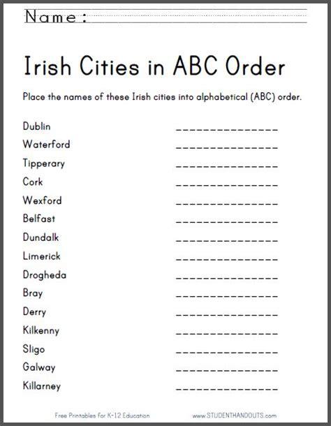 Abc Order Worksheet by Cities In Abc Order Worksheet Free Printable Ela