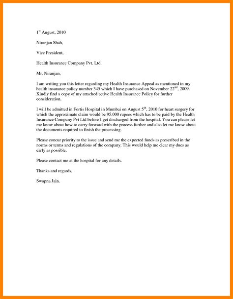 Appeal Letter For Claim 10 Sle Appeal Letter To Insurance Company Handy