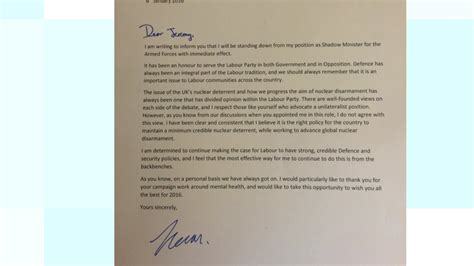 labor front bench north east mp s letter of resignation from front bench