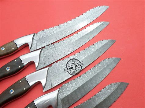 damascus kitchen knives 5 pcs set custom handmade damascus