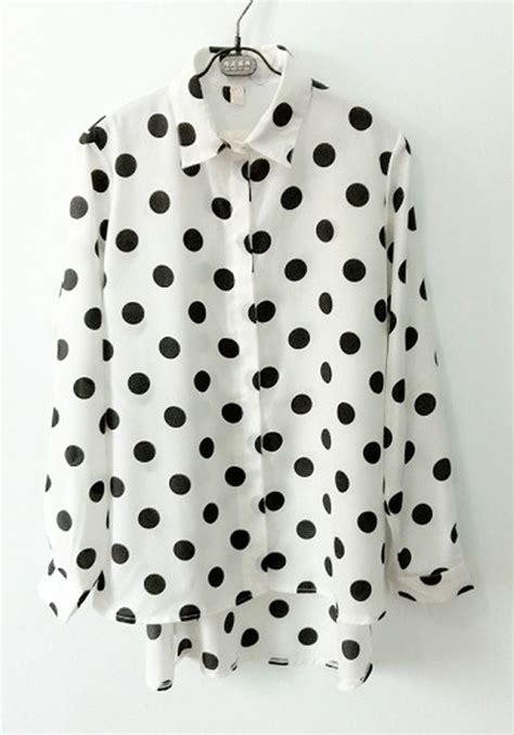White Dot Top Y222 white polka dot sleeve chiffon blouse blouses tops