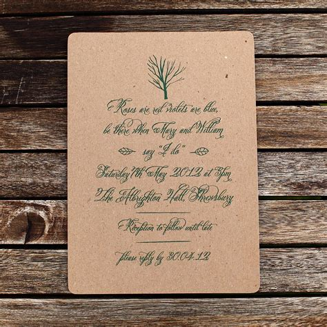 not on the high rustic wedding invitations rustic green wedding invitations envelopes by artcadia notonthehighstreet