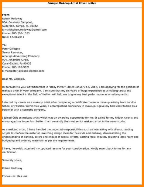 Commercial Artist Cover Letter by Make Up Artist Cover Letter 10945