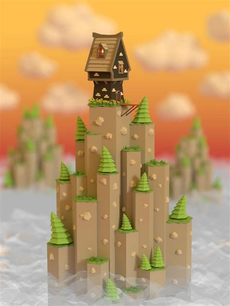 simple voxel floating island blender 3d youtube low poly things and design low poly pinterest