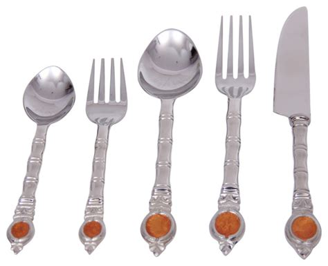 steel place setting set of 5 modern flatware and 5 piece plaid stainless steel flatware set contemporary
