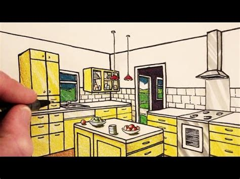 draw kitchen how to draw a kitchen room in 2 point perspective