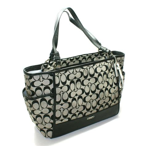 Coach Blacknwhite coach park signature carrie tote bag black white 28728