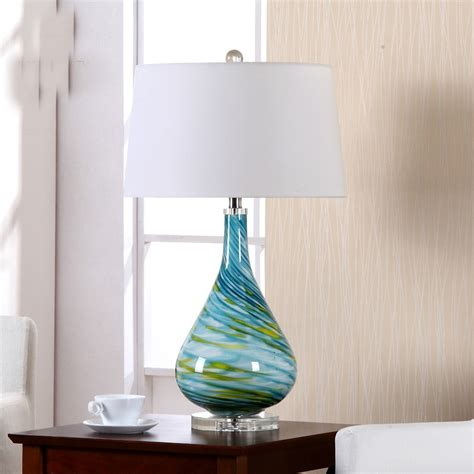 modern turquoise spiral curve glass table lamp