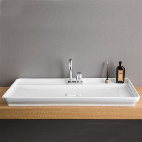 vasque 224 poser 98x54 cm en c 233 ramique blanche artceram