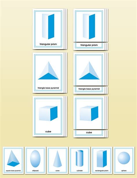 printable montessori geometric shapes geometric solids matching cards montessori research and