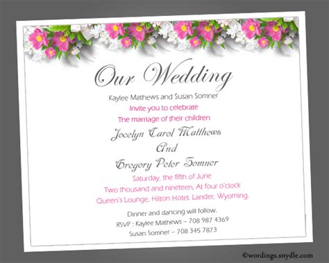 Informal Wedding Invitation Wording Sles Wordings And
