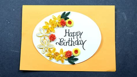 Paper Crafting Cards - diy birthday greeting card paper quilling birthday card