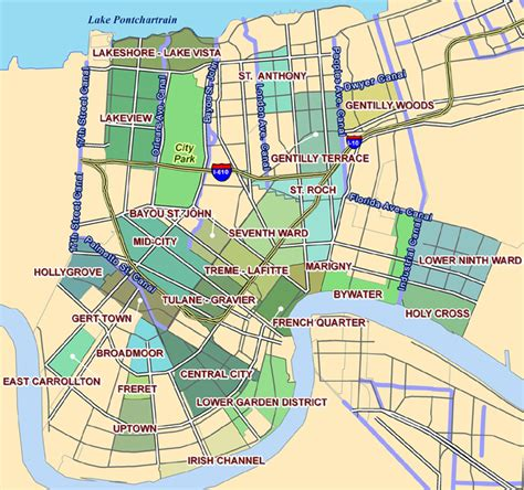 new orleans on map new orleans neighborhoods