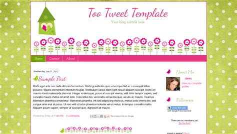 pink green cute flower bird blog template bd web studio