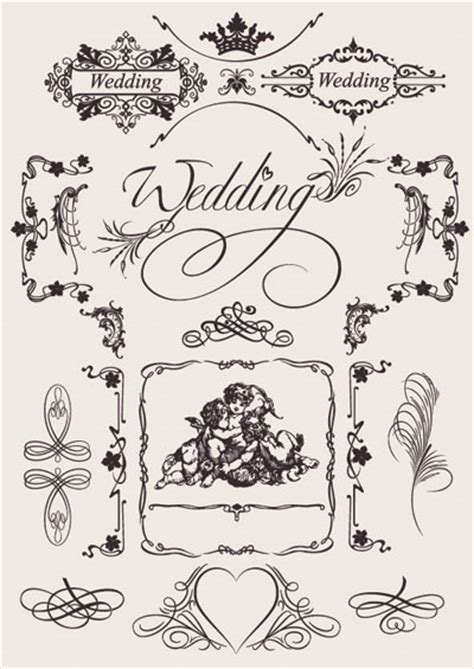 wedding design elements vector 無料ウェディング素材 結婚招待状 席次表 席礼 free style