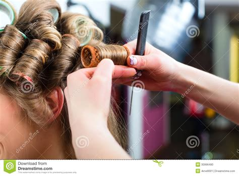 Hair Dresser On by At The Hairdresser Curling Hair Stock Photo Image
