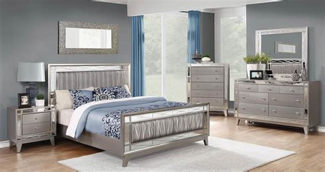 coaster leighton upholstered mirrored bedroom set