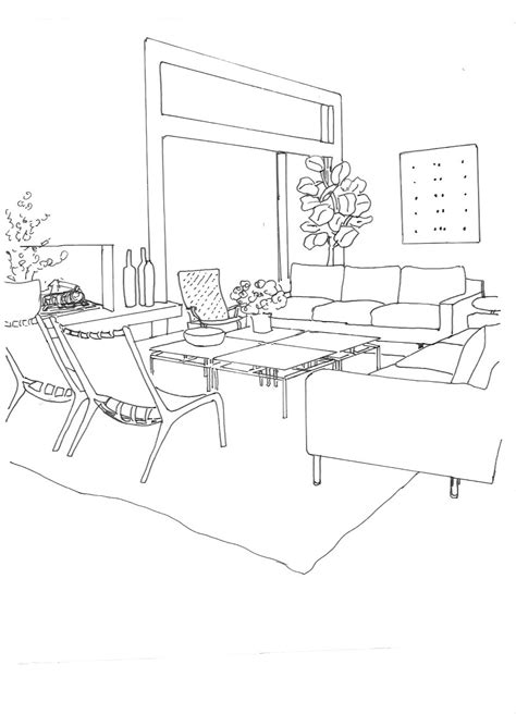 Living Room Drawing by Indezo Interior Design App