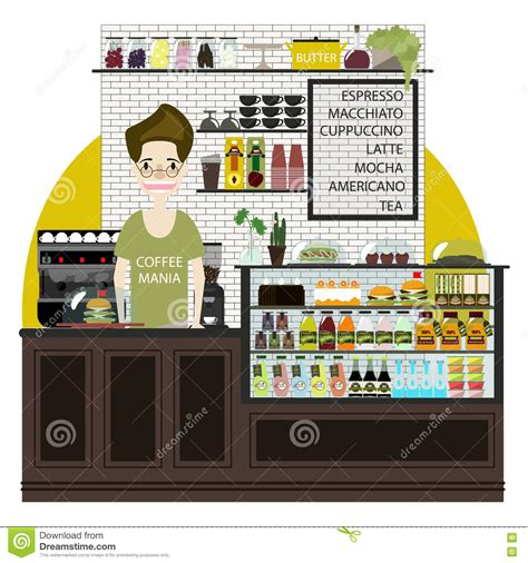 cafe interior design vector modern flat design coffee shop cafe interior stock vector