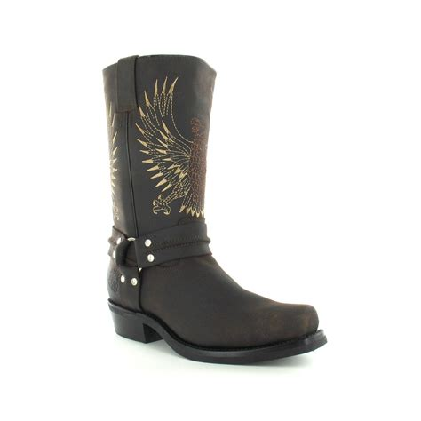 grinders 283 bald eagle mens leather cowboy boots in